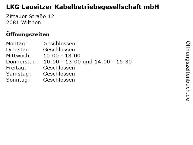 LKG Lausitzer Kabelbetriebsgesellschaft mbH in Wilthen: Adresse und Öffnungszeiten
