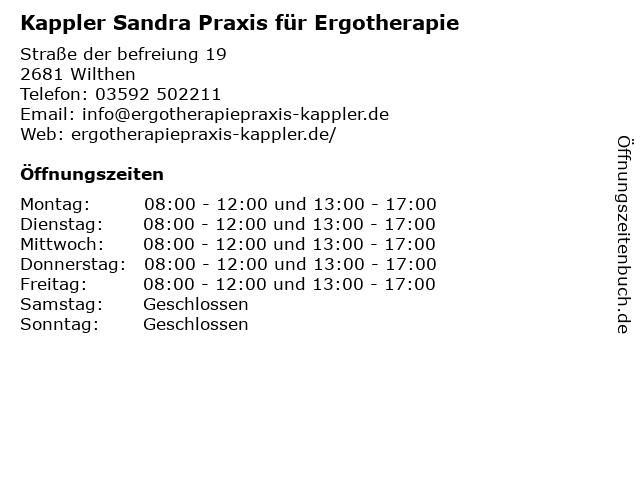Praxis für Ergotherapie Sandra Kappler in Wilthen: Adresse und Öffnungszeiten