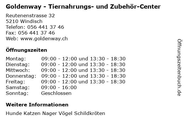 Goldenway - Tiernahrungs- und Zubehör-Center in Windisch: Adresse und Öffnungszeiten