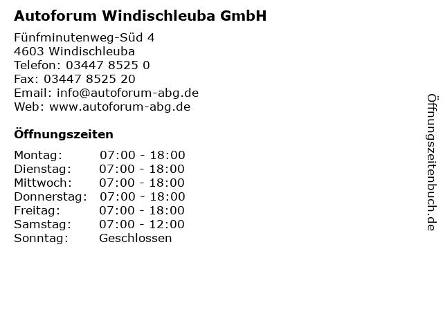 Autoforum Windischleuba GmbH in Windischleuba: Adresse und Öffnungszeiten