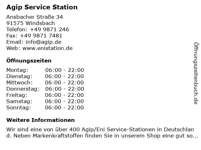 Agip Service Station in Windsbach: Adresse und Öffnungszeiten
