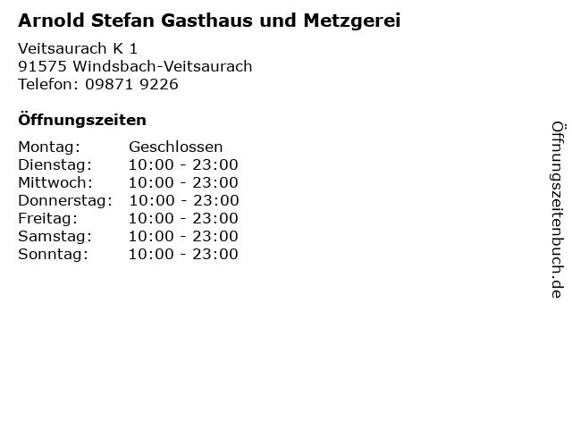 Arnold Stefan Gasthaus und Metzgerei in Windsbach-Veitsaurach: Adresse und Öffnungszeiten
