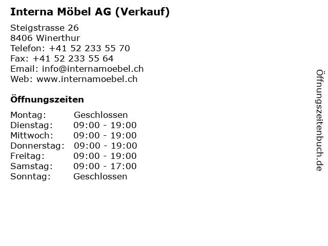 ᐅ öffnungszeiten Interna Möbel Ag Verkauf Steigstrasse 26 In