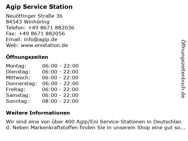 Agip Service Station in Winhöring: Adresse und Öffnungszeiten