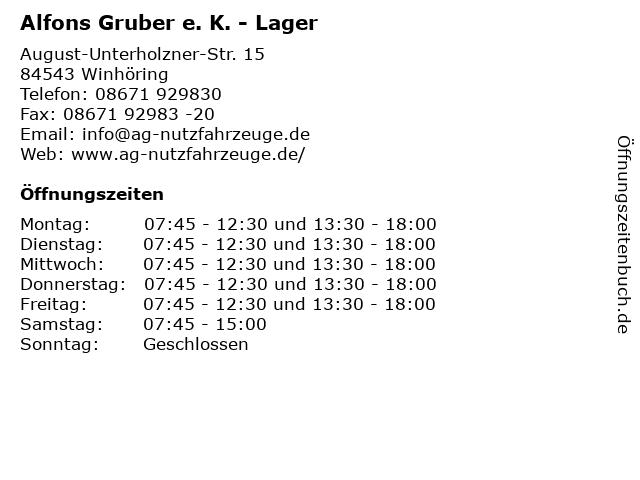 Alfons Gruber e. K. - Lager in Winhöring: Adresse und Öffnungszeiten