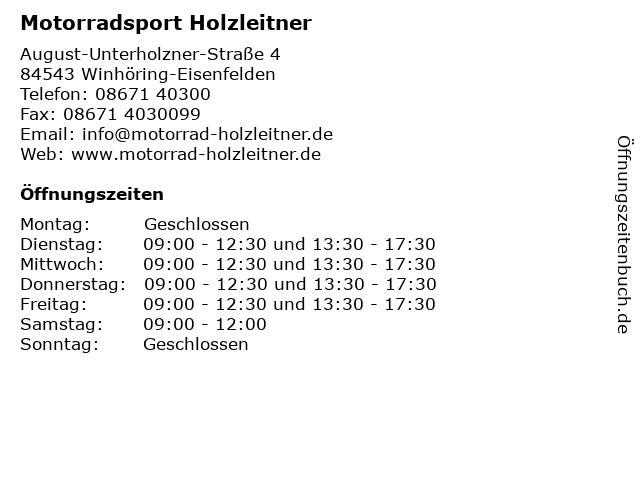 Motorradsport Holzleitner in Winhöring-Eisenfelden: Adresse und Öffnungszeiten