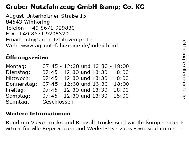 Gruber Nutzfahrzeug GmbH & Co. KG in Winhöring: Adresse und Öffnungszeiten