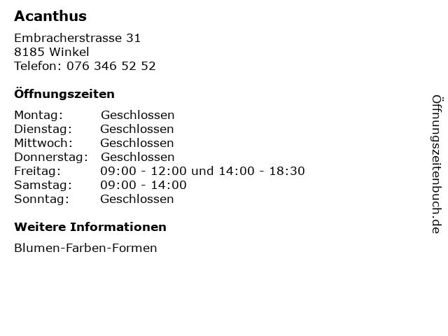 Acanthus in Winkel: Adresse und Öffnungszeiten