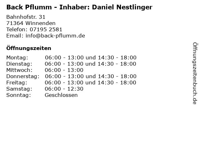 Back Pflumm - Inhaber: Daniel Nestlinger in Winnenden: Adresse und Öffnungszeiten