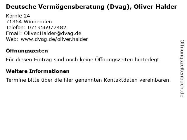 Deutsche Vermögensberatung (Dvag), Oliver Halder in Winnenden: Adresse und Öffnungszeiten