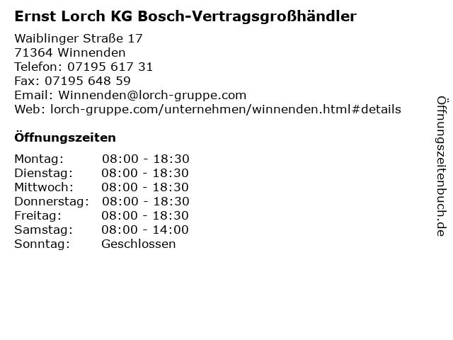 Ernst Lorch KG Bosch-Vertragsgroßhändler in Winnenden: Adresse und Öffnungszeiten
