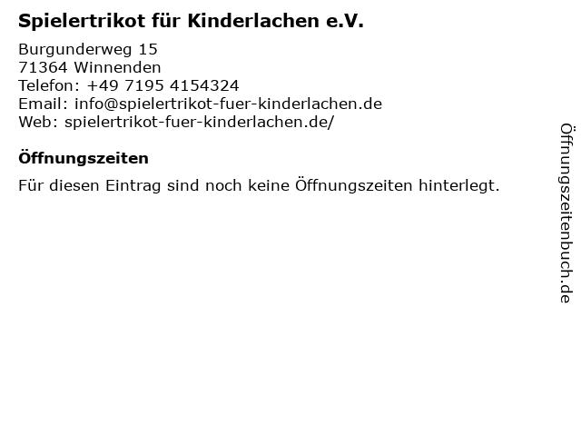 Spielertrikot für Kinderlachen e.V. in Winnenden: Adresse und Öffnungszeiten