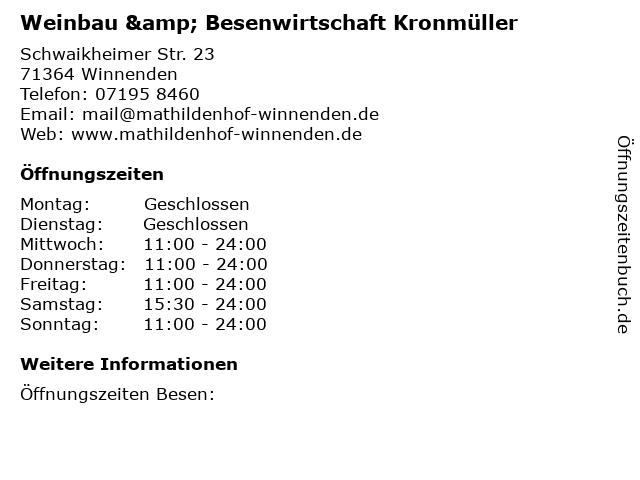 Weinbau & Besenwirtschaft Kronmüller in Winnenden: Adresse und Öffnungszeiten