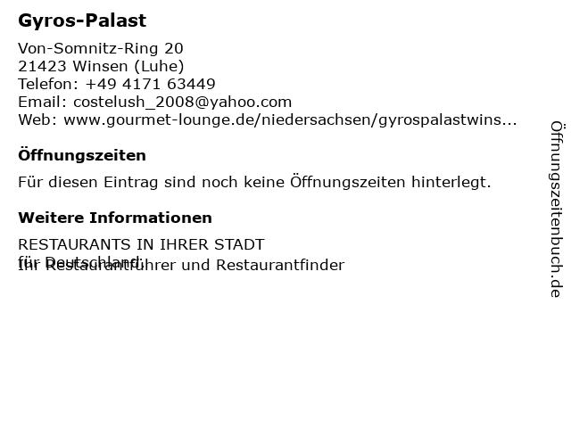 Gyros-Palast in Winsen (Luhe): Adresse und Öffnungszeiten