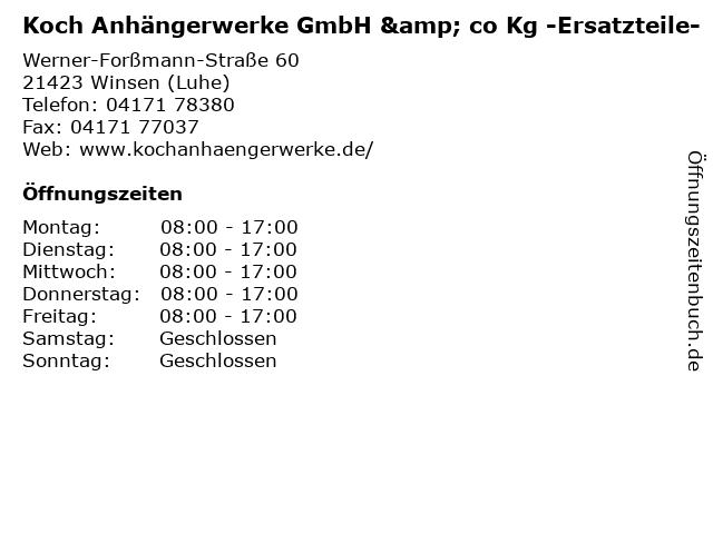 Koch Anhängerwerke GmbH & co Kg -Ersatzteile- in Winsen (Luhe): Adresse und Öffnungszeiten