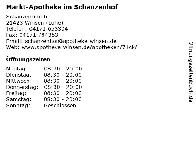 Markt-Apotheke im Schanzenhof in Winsen (Luhe): Adresse und Öffnungszeiten