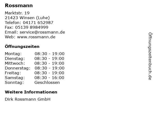 Rossmann in Winsen (Luhe): Adresse und Öffnungszeiten