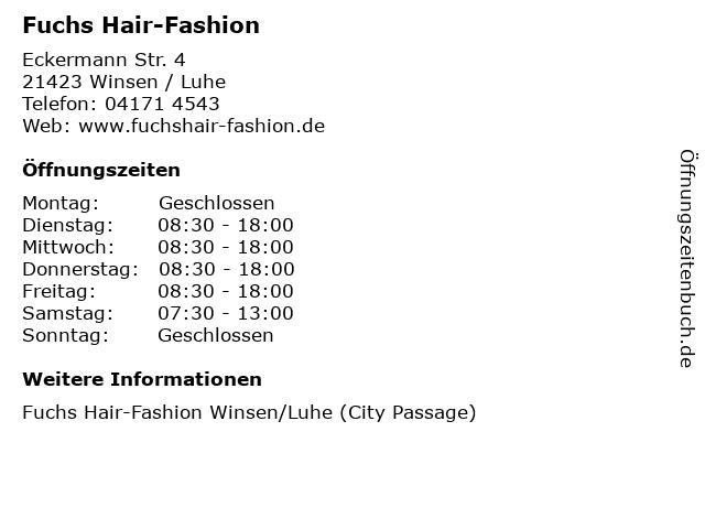 Fuchs Hair-Fashion in Winsen / Luhe: Adresse und Öffnungszeiten