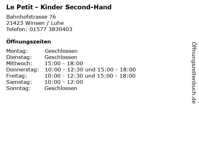 Le Petit - Kinder Second-Hand in Winsen / Luhe: Adresse und Öffnungszeiten