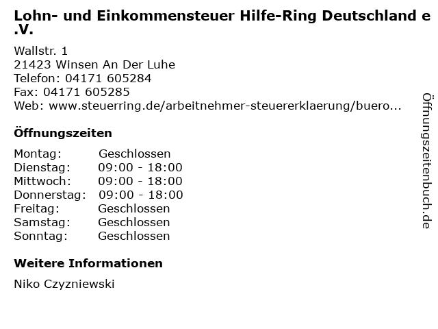 Lohn- und Einkommensteuer Hilfe-Ring Deutschland e.V. in Winsen An Der Luhe: Adresse und Öffnungszeiten