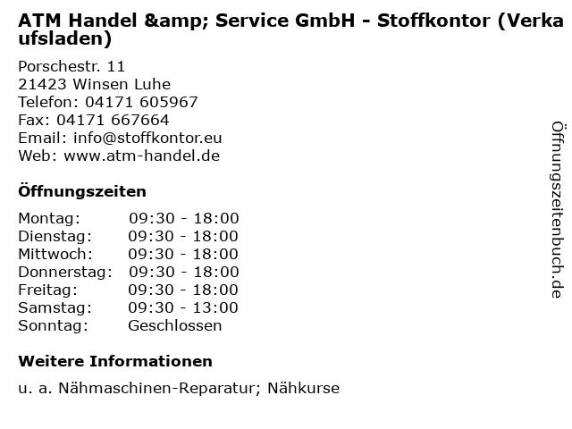 ATM Handel & Service GmbH - Stoffkontor (Verkaufsladen) in Winsen Luhe: Adresse und Öffnungszeiten