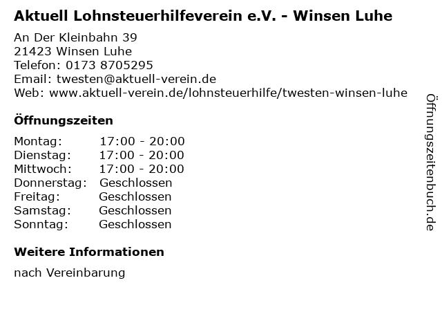 Aktuell Lohnsteuerhilfeverein e.V. - Winsen Luhe in Winsen Luhe: Adresse und Öffnungszeiten