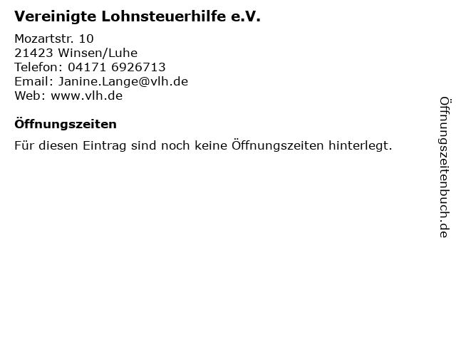 Vereinigte Lohnsteuerhilfe e.V. in Winsen/Luhe: Adresse und Öffnungszeiten