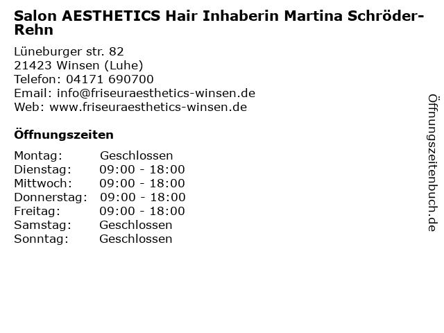 Aesthetics Hair and Make-up Martina Schröder-Rehn Friseursalon in Winsen: Adresse und Öffnungszeiten