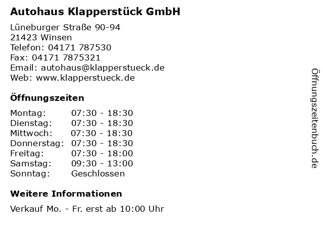 Autohaus Klapperstück GmbH in Winsen: Adresse und Öffnungszeiten