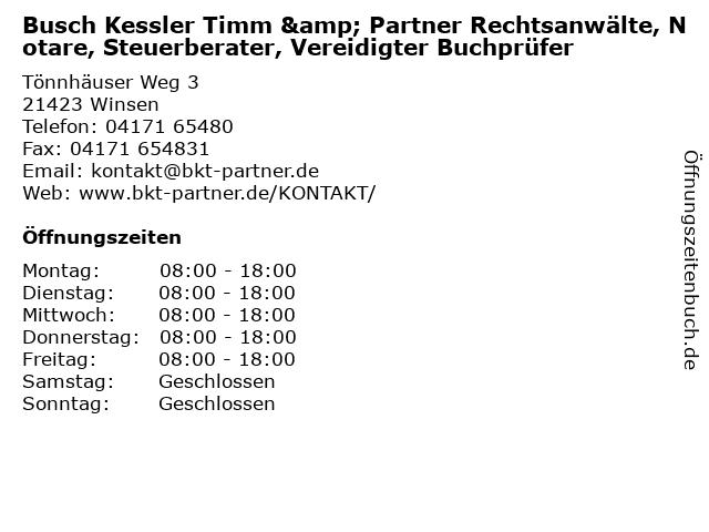 Busch Kessler Timm & Partner Rechtsanwälte, Notare, Steuerberater, Vereidigter Buchprüfer in Winsen: Adresse und Öffnungszeiten