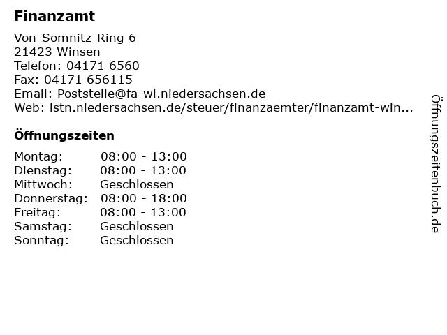 Finanzamt Winsen (Luhe) in Winsen: Adresse und Öffnungszeiten