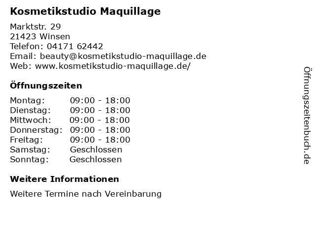 Kosmetikstudio Maquillage in Winsen: Adresse und Öffnungszeiten