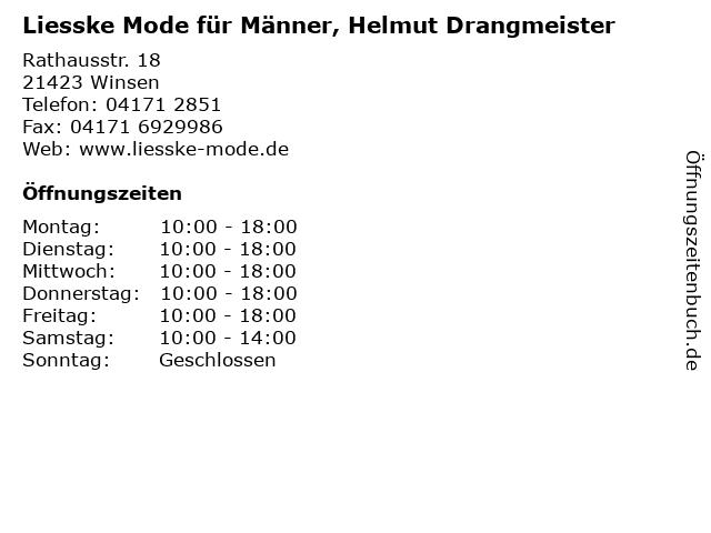 Liesske Mode für Männer, Helmut Drangmeister in Winsen: Adresse und Öffnungszeiten