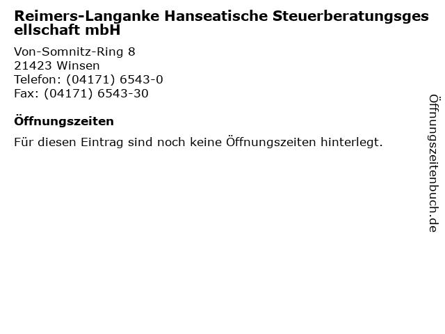 Reimers-Langanke Hanseatische Steuerberatungsgesellschaft mbH in Winsen: Adresse und Öffnungszeiten