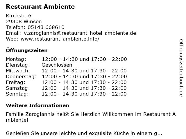 Ambiente Winsen Aller : ffnungszeiten restaurant ambiente kirchstr 6 in ~ Watch28wear.com Haus und Dekorationen