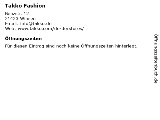 Takko Fashion in Winsen: Adresse und Öffnungszeiten