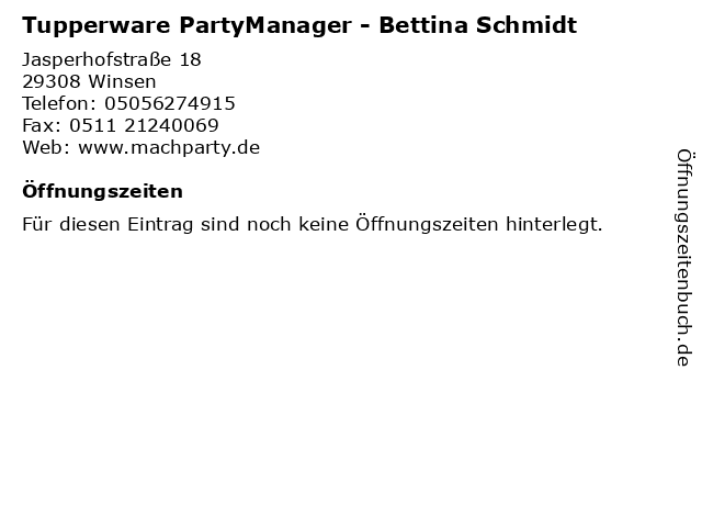 Tupperware PartyManager - Bettina Schmidt in Winsen: Adresse und Öffnungszeiten