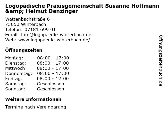 Logopädische Praxisgemeinschaft Susanne Hoffmann & Helmut Denzinger in Winterbach: Adresse und Öffnungszeiten