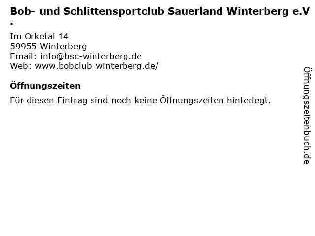 Bob- und Schlittensportclub Sauerland Winterberg e.V. in Winterberg: Adresse und Öffnungszeiten