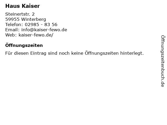 Haus Kaiser in Winterberg: Adresse und Öffnungszeiten