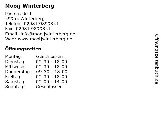 Mooij Winterberg in Winterberg: Adresse und Öffnungszeiten