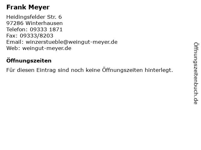 Frank Meyer in Winterhausen: Adresse und Öffnungszeiten