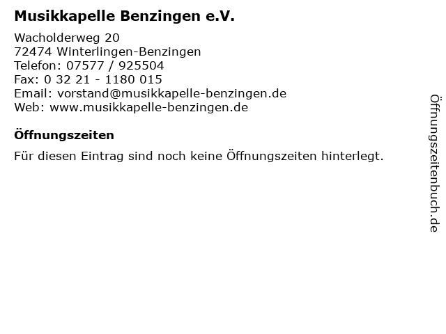 Musikkapelle Benzingen e.V. in Winterlingen-Benzingen: Adresse und Öffnungszeiten