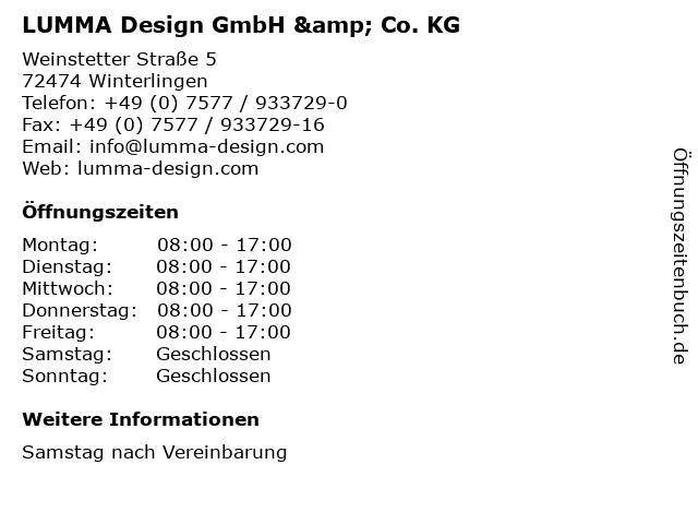 LUMMA Design GmbH & Co. KG in Winterlingen: Adresse und Öffnungszeiten