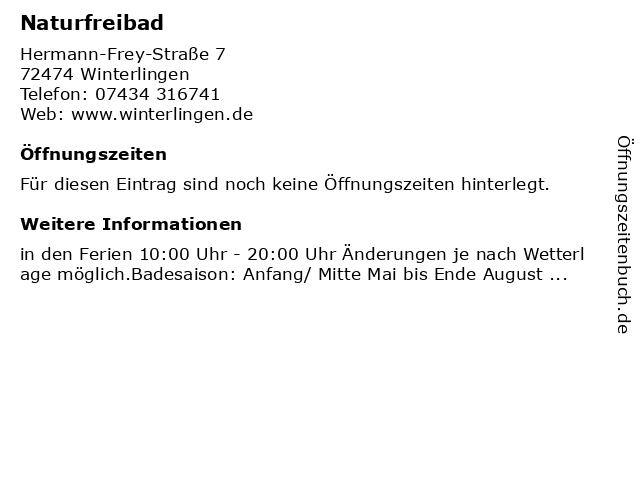 Naturfreibad in Winterlingen: Adresse und Öffnungszeiten