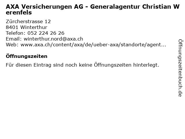 AXA Versicherungen AG - Generalagentur Christian Werenfels in Winterthur: Adresse und Öffnungszeiten