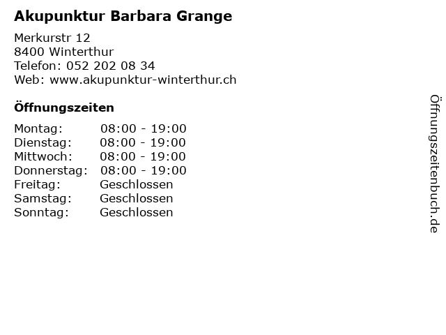 Akupunktur Barbara Grange in Winterthur: Adresse und Öffnungszeiten