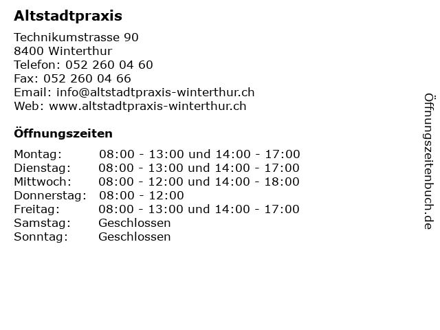 Altstadtpraxis in Winterthur: Adresse und Öffnungszeiten