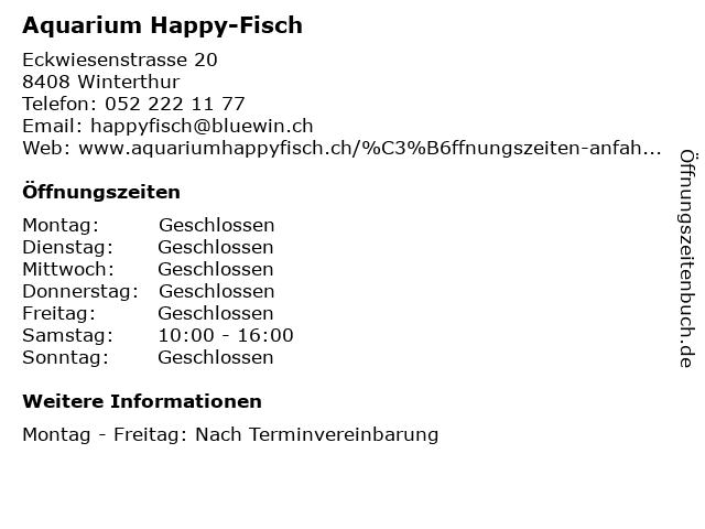 Aquarium Happy-Fisch in Winterthur: Adresse und Öffnungszeiten