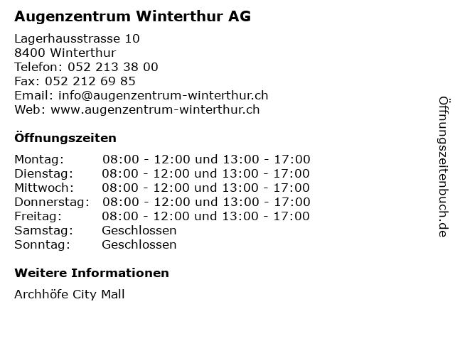 Augenzentrum Winterthur AG in Winterthur: Adresse und Öffnungszeiten